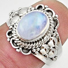 Clearance Sale- 3.10cts natural rainbow moonstone oval 925 silver solitaire ring size 7.5 d32911