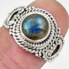 Clearance Sale- 3.01cts natural blue labradorite 925 silver solitaire ring size 7.5 d32913