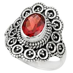 Clearance Sale- 925 sterling silver 2.12cts natural red garnet solitaire ring size 5.5 d32944