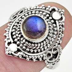 Clearance Sale- 2.44cts natural blue labradorite 925 silver solitaire ring jewelry size 8 d32959