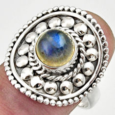 Clearance Sale- 3.41cts natural blue labradorite 925 silver solitaire ring jewelry size 8 d32960