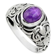 Clearance Sale- 2.09cts natural purple amethyst 925 silver solitaire ring jewelry size 7 d32962