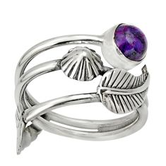 Clearance Sale- 1.22cts purple copper turquoise 925 silver flower solitaire ring size 8 d32971