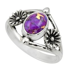 Clearance Sale- 925 silver 1.94cts purple copper turquoise flower solitaire ring size 7.5 d32976