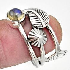 Clearance Sale- 1.22cts natural blue labradorite 925 silver flower solitaire ring size 7 d32977