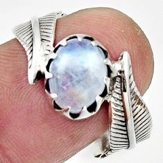 Clearance Sale- 3.51cts natural rainbow moonstone 925 silver solitaire ring size 8.5 d32978