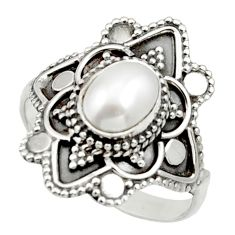 Clearance Sale- 2.09cts natural white pearl 925 sterling silver solitaire ring size 9 d32982