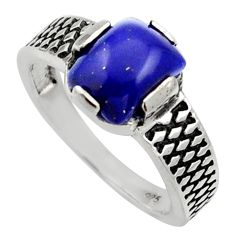 Clearance Sale- 3.02cts natural blue lapis lazuli 925 silver solitaire ring size 8 d32989