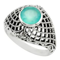 Clearance Sale- 2.68cts natural aqua chalcedony topaz 925 silver solitaire ring size 8 d32991