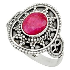 Clearance Sale- 925 sterling silver 2.21cts natural red ruby solitaire ring size 7.5 d32994