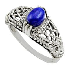 1.36cts natural blue lapis lazuli 925 silver solitaire ring size 8.5 d32996
