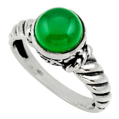 Clearance Sale- 925 silver 3.14cts natural green chalcedony solitaire ring jewelry size 8 d32998
