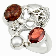 4.21cts natural brown pietersite (african) 925 silver fish ring size 8 d33005