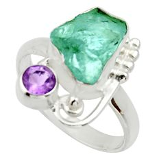 6.53cts natural aqua aquamarine rough amethyst 925 silver ring size 9 d33007