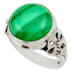 925 silver 6.36cts natural green malachite solitaire ring size 6 d33008