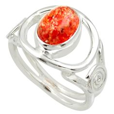 Clearance Sale- 925 silver 3.25cts natural orange sunstone oval solitaire ring size 6 d33013
