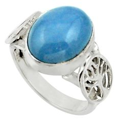 Clearance Sale- 5.38cts natural blue owyhee opal 925 silver solitaire ring jewelry size 6 d33014