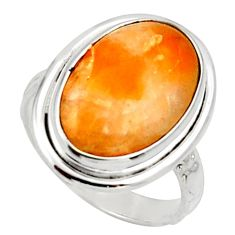 7.33cts natural orange calcite 925 silver solitaire ring jewelry size 6.5 d33021