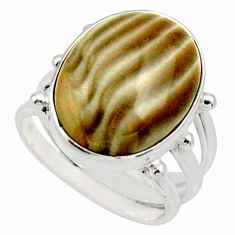 925 silver 14.41cts natural grey striped flint ohio solitaire ring size 8 d33024