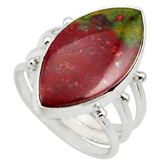 925 silver 14.26cts natural red bloodstone african solitaire ring size 8 d33027