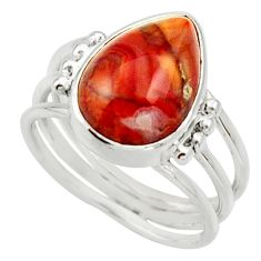 Clearance Sale- 6.36cts natural honey botswana agate 925 silver solitaire ring size 7.5 d33028