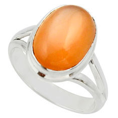 Clearance Sale- 6.02cts natural pink moonstone 925 silver solitaire ring jewelry size 8 d33029