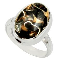 Natural turritella fossil snail agate 925 silver solitaire ring size 6.5 d33033