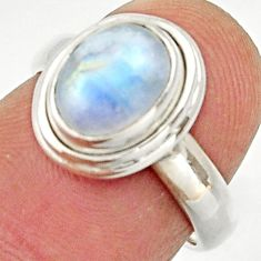Clearance Sale- 925 silver 3.11cts natural rainbow moonstone oval solitaire ring size 6 d33035