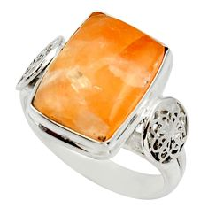 7.07cts natural orange calcite 925 silver solitaire ring jewelry size 8.5 d33043