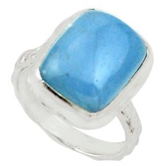 6.53cts natural blue angelite 925 silver solitaire ring jewelry size 6.5 d33045