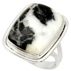 15.97cts natural black chrysanthemum 925 silver solitaire ring size 7 d33046