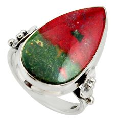 Clearance Sale- 14.45cts natural green bloodstone african silver solitaire ring size 8 d33049