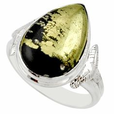 10.02cts natural pyrite in magnetite 925 silver solitaire ring size 8.5 d33055