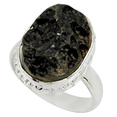 Clearance Sale- 13.13cts natural black tektite 925 silver solitaire ring jewelry size 8 d33073