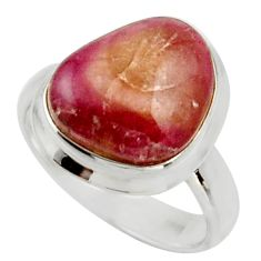 Clearance Sale- 5.79cts natural pink bio tourmaline 925 silver solitaire ring size 6.5 d33075