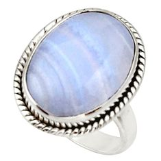 13.70cts natural blue lace agate 925 silver solitaire ring jewelry size 7 d33082