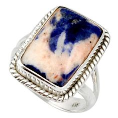 10.60cts natural orange sodalite 925 silver solitaire ring size 7.5 d33093