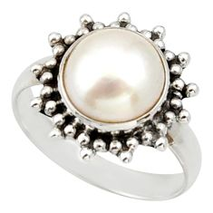 5.63cts natural white pearl 925 sterling silver solitaire ring size 8 d33096