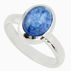 3.26cts natural blue tanzanite 925 silver solitaire ring jewelry size 6 d33102