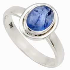 1.96cts natural blue tanzanite 925 silver solitaire ring jewelry size 8 d33103