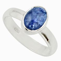 2.22cts natural blue tanzanite 925 silver solitaire ring jewelry size 5.5 d33105
