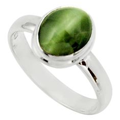 Clearance Sale- 925 sterling silver 4.08cts green cats eye solitaire ring size 8 d33117