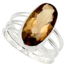 7.83cts brown smoky topaz 925 sterling silver solitaire ring size 10 d33127