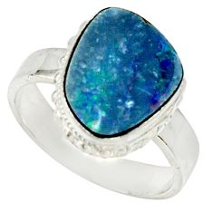 Clearance Sale- 5.74cts natural doublet opal australian 925 silver solitaire ring size 8 d33136