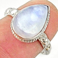 Clearance Sale- 4.82cts natural rainbow moonstone 925 silver solitaire ring size 6.5 d33140