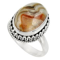 Clearance Sale- 6.58cts natural mexican laguna lace agate silver solitaire ring size 7 d33903