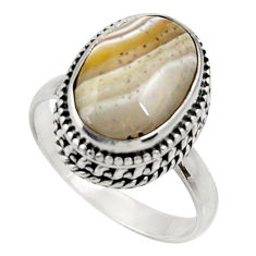 Clearance Sale- 925 silver natural mexican laguna lace agate solitaire ring size 8.5 d33904