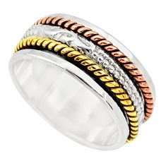 6.02gms victorian 925 silver 14k gold two tone spinner band ring size 8.5 d33906