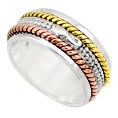 5.89gms victorian 925 silver 14k gold two tone spinner band ring size 8 d33908