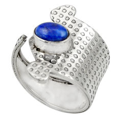 Clearance Sale- 1.66cts natural lapis lazuli 925 silver adjustable solitaire ring size 7 d33915